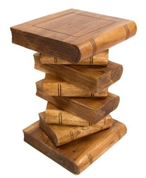 Waxed Stacked Books Stool