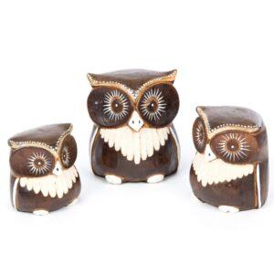 3 Wooden Brown Owls