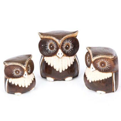 3 Wooden Owls