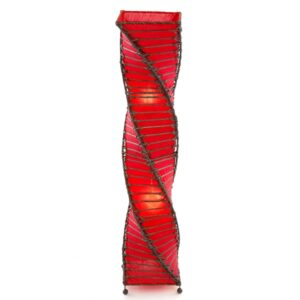 Twisted Wicker & Fabric Lamp - Red - 100cm