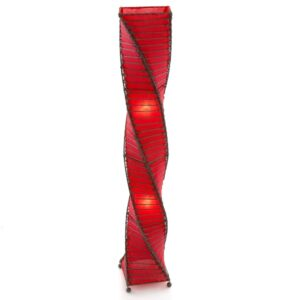 Twisted Wicker & Fabric Lamp - Red - 150cm
