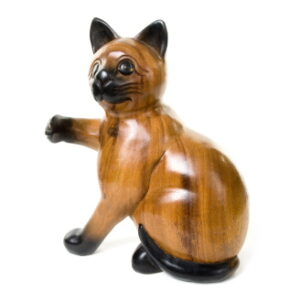 Wooden Cat with Paw Up