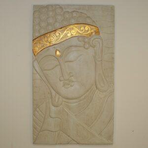White Buddha Gold Bandana Wall Hanging.