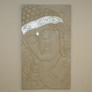White Buddha Silver Bandana Wall Hanging