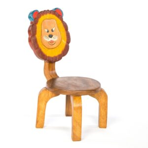 Childrens painted wooden lion chair