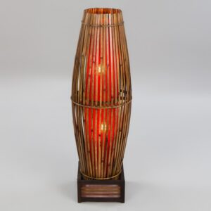 Plain Bamboo Tube Lamp - Red - 100cm