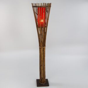Bamboo Torch Floor Lamp - Red