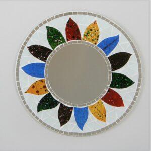 Round Flower Sun Mosaic Mirror - 30 cm