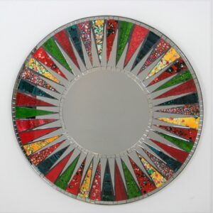Round Multi Colour Mosaic Mirror 60 cmr 40 cm