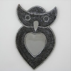 Owl Mosaic Mirror - Black