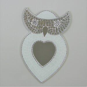 Owl Mosaic Mirror - White