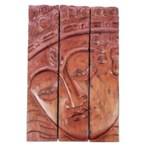 3 Panel Buddha Wall Hanging - Brown