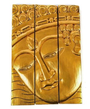 3 Panel Buddha Wall Hanging - Gold