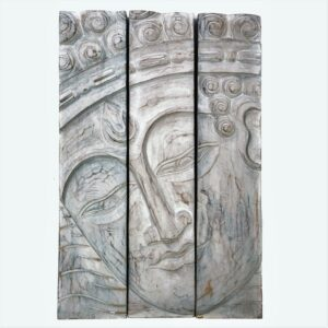 3 Panel Buddha Wall Hanging - White Wash
