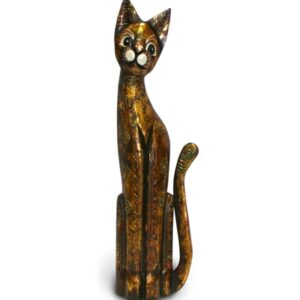 Tall Black Gold Bali Cat - 60cm
