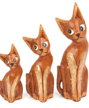 Natural Gold Cats - set of 3
