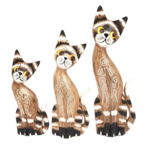 Carved Bright Eyed Cats - Set of 3