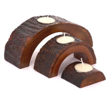 Half Circle Mango Wood Tea Light Set - Natural