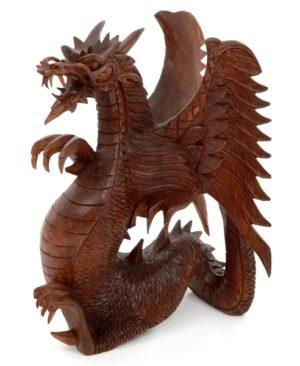 Carved Dragon - 30 cm - Brown