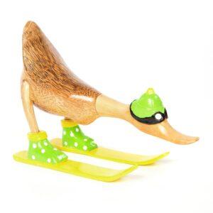 Polka Dot Skiing Bamboo Duck