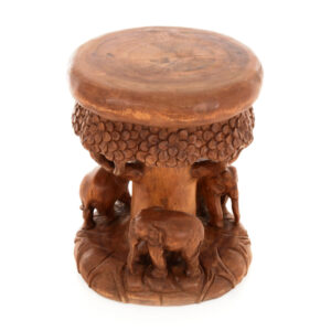 Forest Stool / Table with 3 Elephants - Small