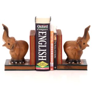 Trunk Up Elephant Book Ends - set of 2