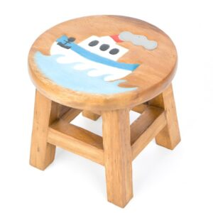 Kids Stool with Blue Boat Design