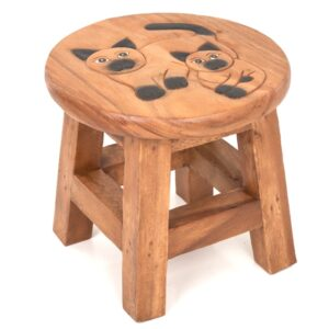 Childs Stool with Black Cats