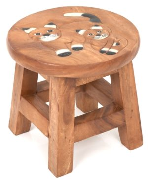 Childs Stool - Double White Cats