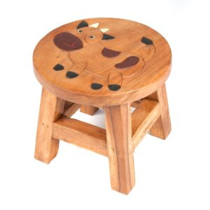 Childs Stool with Cow Design