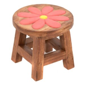 Childs Stool - Pink Flower