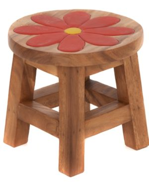Childs Stool - Red Flower