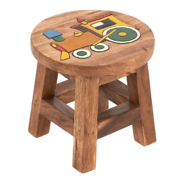 Cat Design Thai Gifts Childrens Wooden Stool