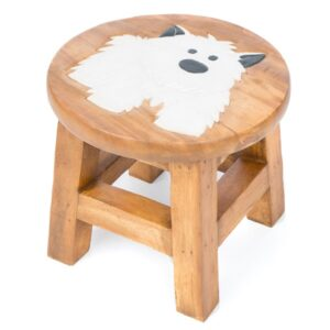 Childs Stool – White Dog