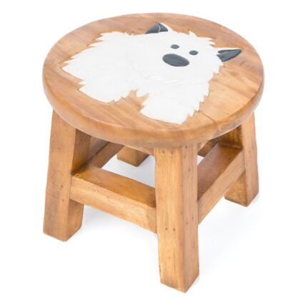 Childs Stool - White Dog