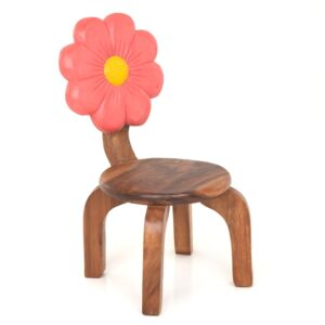 Wooden Pink Flower Chair