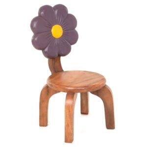 Kids Chair with Purple Flower Design