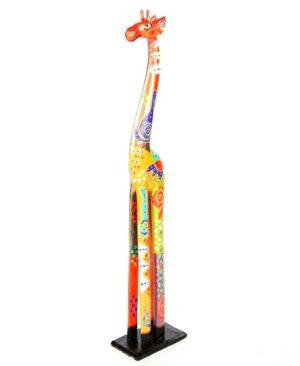 Fair Trade Wooden Painted Standing Giraffe - 80cm