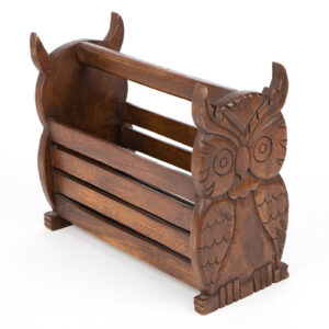 Wooden Owl Magazine Paper Rack