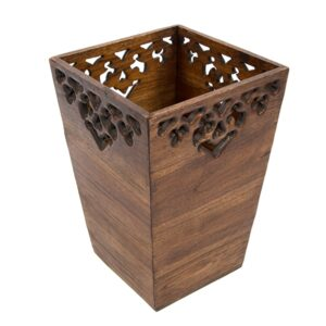 Carved Wooden Waste Bin - Large