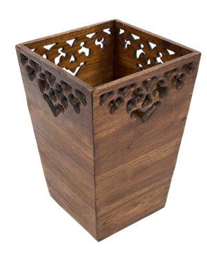 Carved Wooden Waste Bin - Large