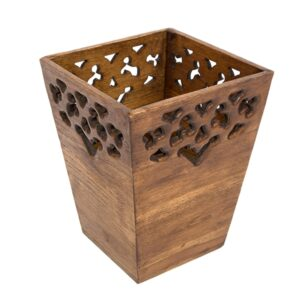 Carved Wooden Waste Bin - Small
