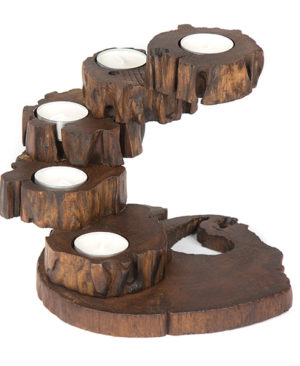 Folding Teak Tea Light 5