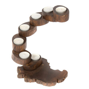 Folding Teak Tea Light 7