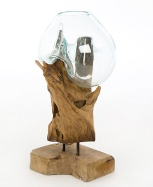 Glass Sculpture On Wood - Large
