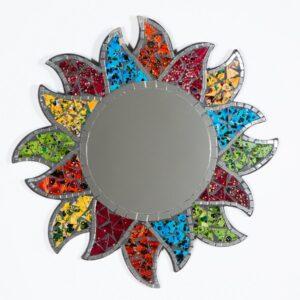 Round Flower Sun Mosaic Mirror