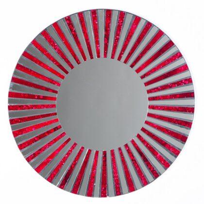 Red Stripe Mosaic Mirror - 60cm