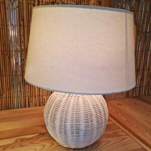 White Rattan Table Lamp