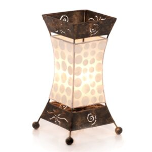 Small Metal and Coin Shell Hour Glass Lamp - 30cm