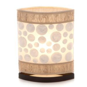 Oval Eye Sandel Wood and Coin Shell Table Lamp - 35cm